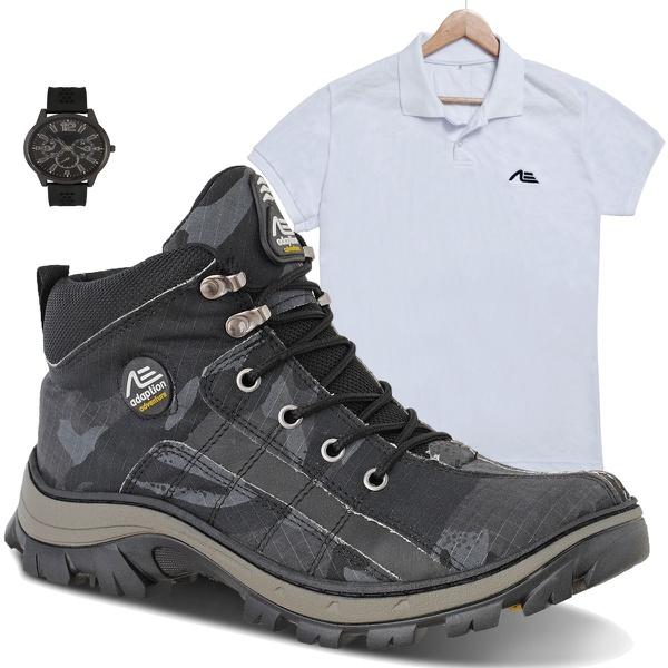 coturno tiger cinza + camisa branca + relógio de brinde