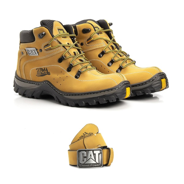 Kit Bota Caterpillar Adventure Mid + Cinto Caterpillar Diesel Power