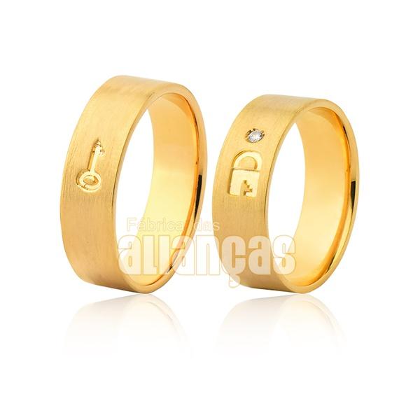 Par De Alianças De Ouro Amarelo 18k