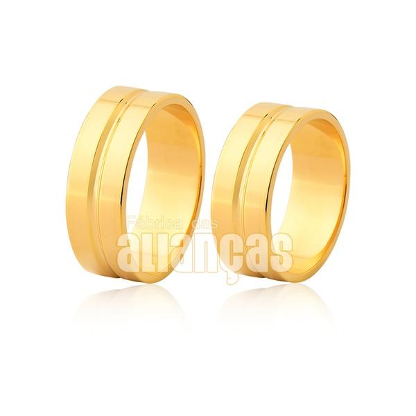 Alianças Retas com Friso em Ouro Amarelo