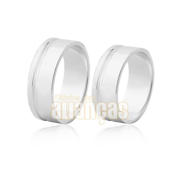Aliança De Noivado e Casamento Em Ouro Branco 18k 0,750 Fa-488-b - FA-488-B - Fábrica das Alianças