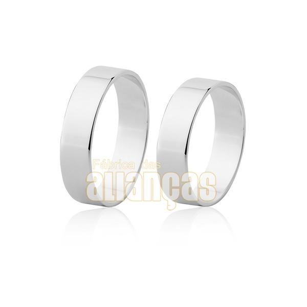 Alianças De Noivado e Casamento Em Ouro Branco 18k 0,750 Fa-49-b