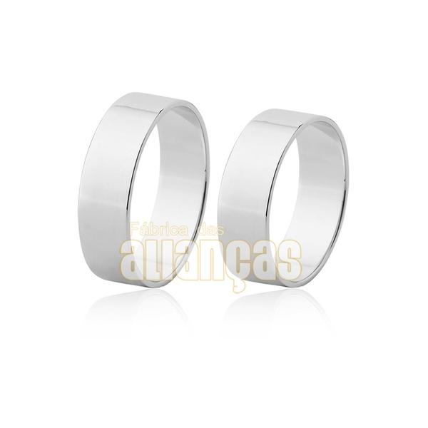 Alianças De Noivado e Casamento Em Ouro Branco 18k 0,750 Fa-50-b