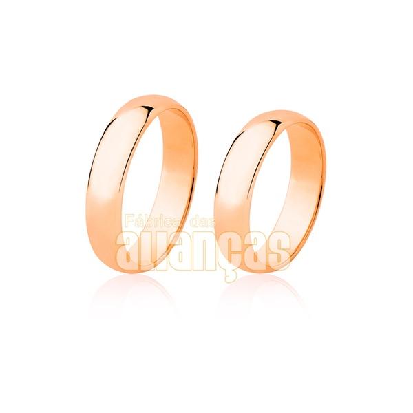 Alianças De Noivado e Casamento Em Ouro Rose 18k 0,750 Fa-17-r