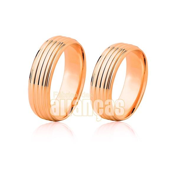 Par De Alianças De Ouro Rosê 18k - FA-483-R - Fábrica das Alianças