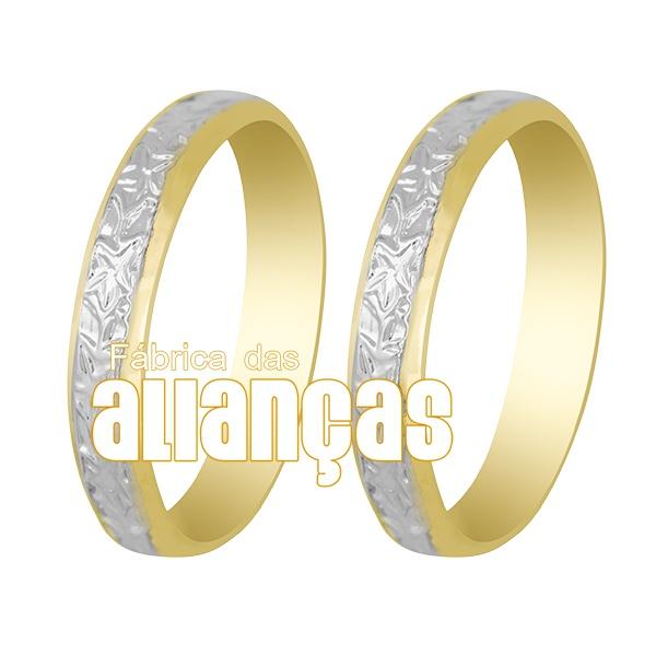 Alianças De Bodas Em Ouro Amarelo 18k 0,750 Fa-240
