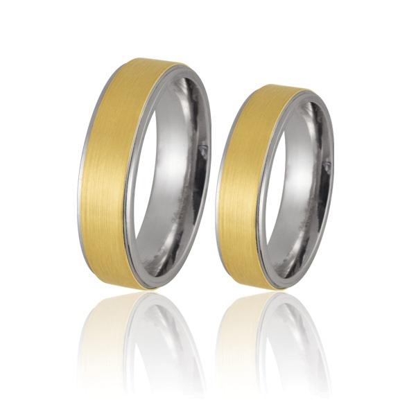 Alianças De Compromisso Em Prata 0,950k Com Ouro Amarelo 18k 0,750 - FA-AGR-51 - Fábrica das Alianças