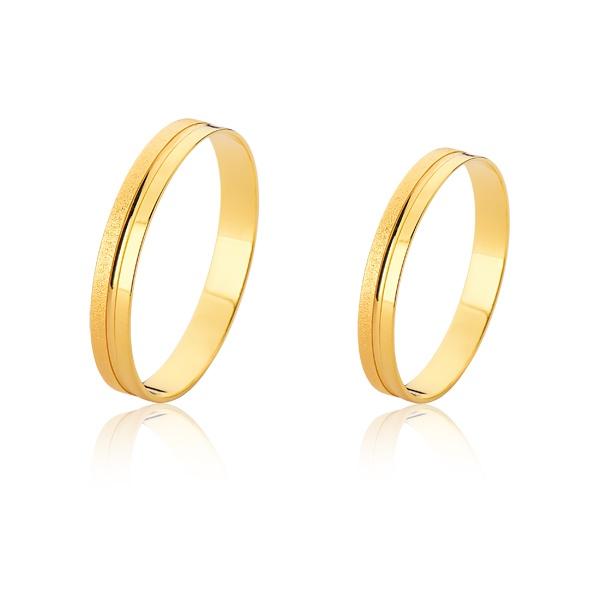 Alianças Diamantada de ouro 10k - FA-2400-10K - Fábrica das Alianças