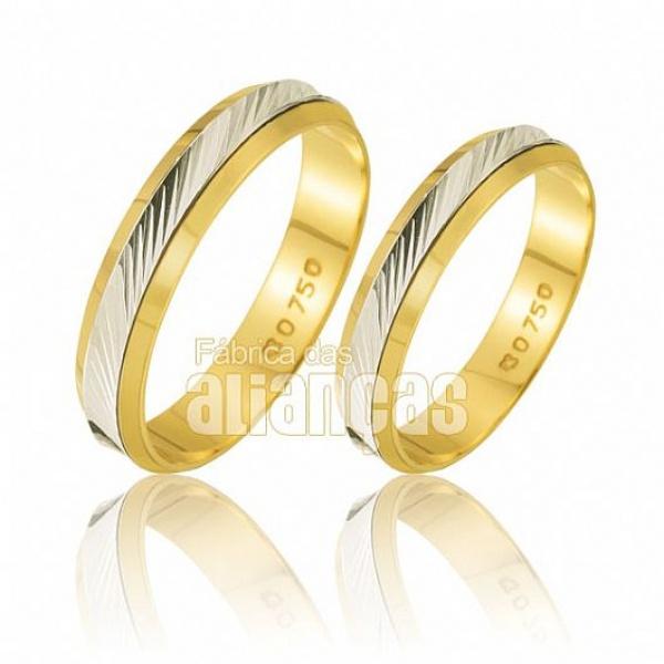 Alianças De Bodas Em Ouro Amarelo 18k 0,750 Fa-223
