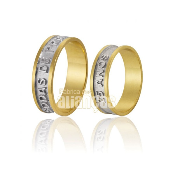 Alianças De Bodas Em Ouro Amarelo 18k 0,750 Fa-588
