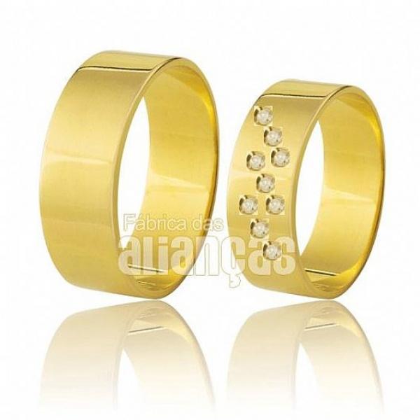 Alianças de Ouro Cravejadas de Brilhantes