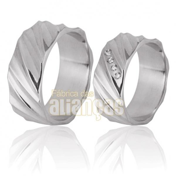 Aliança De Namoro Em Prata Com Pedras