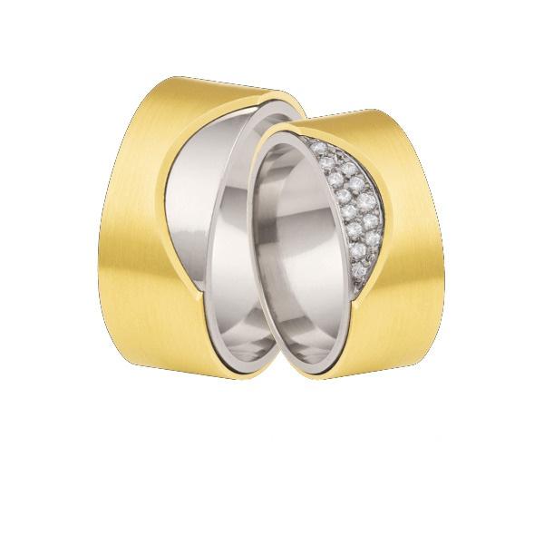 Aliança personaliza em ouro 18k e ouro branco
