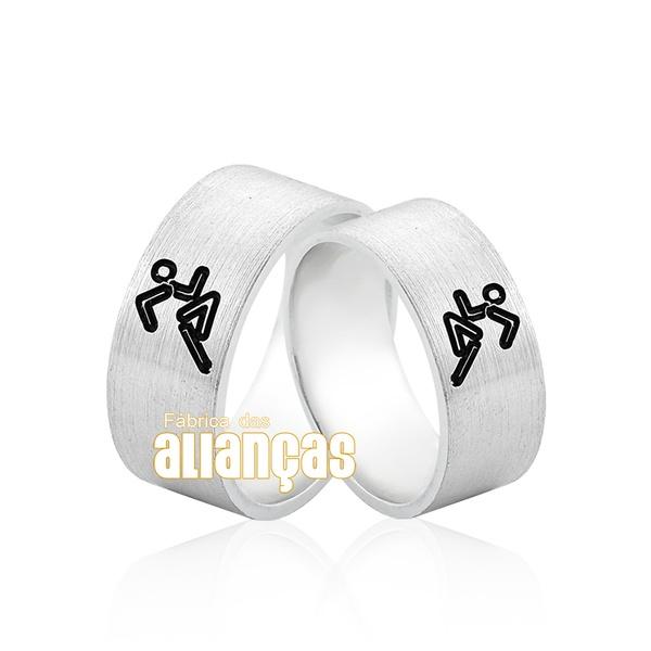 Aliança Em Prata 0,950 k Personalizada Corrida