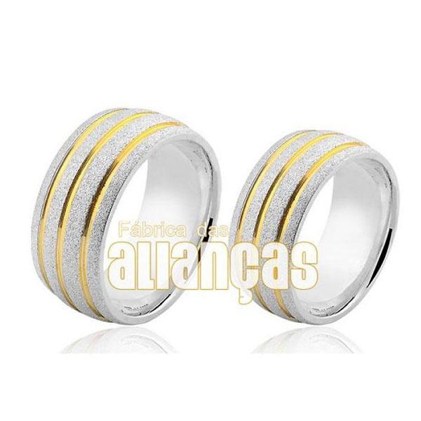 Par De Alianças Em Prata Abauladas Com Frisos Folheados a Ouro 18k