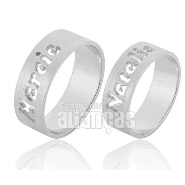 Aliança Em Prata 0,950 k Personalizada - FA-AG-835 - Fábrica das Alianças