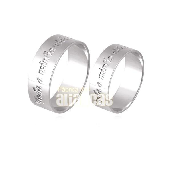 Aliança Em Prata 0,950 k Personalizada - FA-AG-722 - Fábrica das Alianças