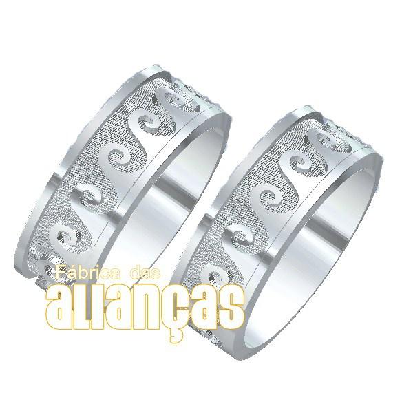 Aliança Em Prata 0,950 k Exclusiva - FA-AG-1107 - Fábrica das Alianças