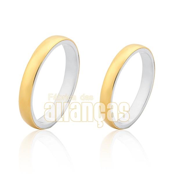 Aliança Em Prata 0,950k Revestida Com Ouro Amarelo 18k 0,750