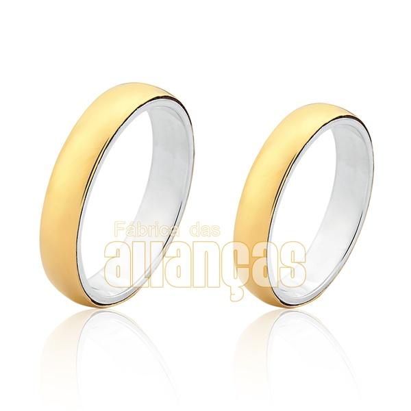 Aliança Em Prata 0,950k Revestida Com Ouro Amarelo 18k 0,750 - FA-AGR-02 - Fábrica das Alianças