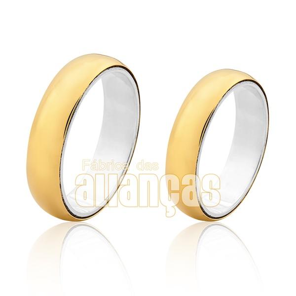 Aliança Em Prata 0,950k Revestida Com Ouro Amarelo 18k 0,750 - FA-AGR-03 - Fábrica das Alianças