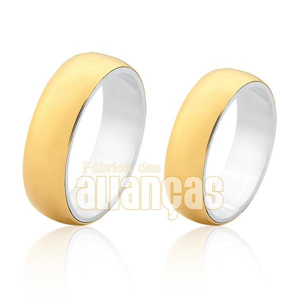 Aliança Em Prata 0,950k Revestida Com Ouro Amarelo 18k 0,750 - FA-AGR-04 - Fábrica das Alianças