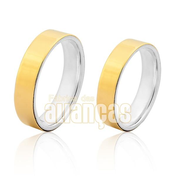 Aliança Em Prata 0,950k Revestida Com Ouro Amarelo 18k 0,750 - FA-AGR-32 - Fábrica das Alianças