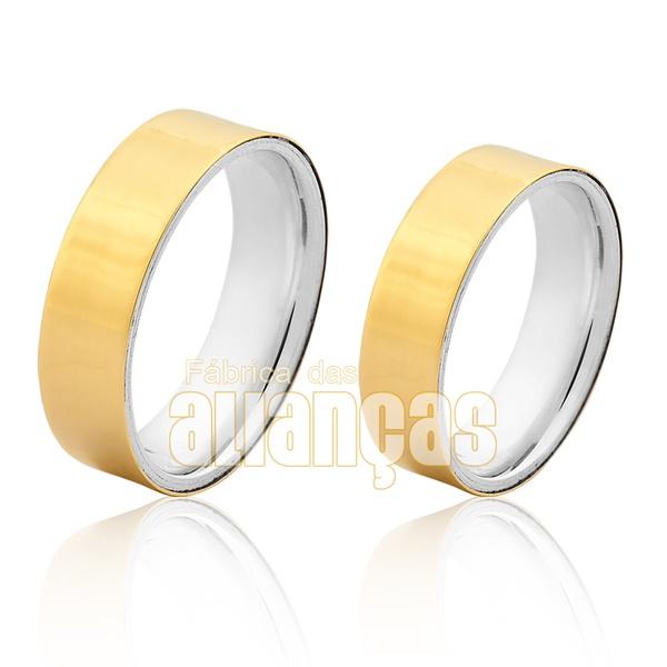 Aliança Em Prata 0,950k Revestida Com Ouro Amarelo 18k 0,750 - FA-AGR-33 - Fábrica das Alianças