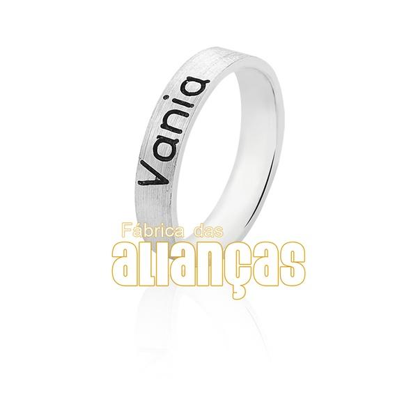 Aliança Em Prata Personalizada Com Nome - FA-AG-1311 - Fábrica das Alianças