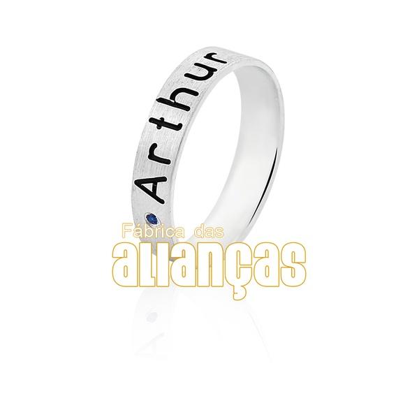 Aliança Em Prata Personalizada Com Nome - FA-AG-1312 - Fábrica das Alianças