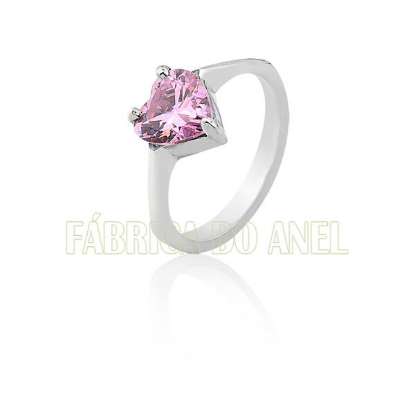 Anel Solitário Em Prata Com Pedra De Coração - FA-AG-100-Rosa - Fábrica das Alianças