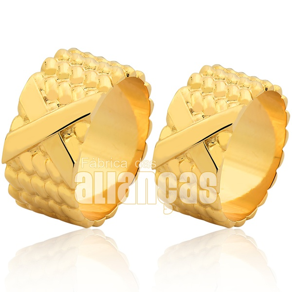 Alianças De Noivado e Casamento Em Ouro Amarelo 18k 0,750 Fa-1004