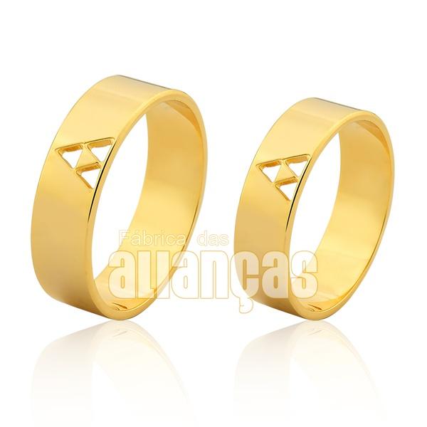 Alianças De Noivado e Casamento Em Ouro Amarelo 18k 0,750 Fa-1007