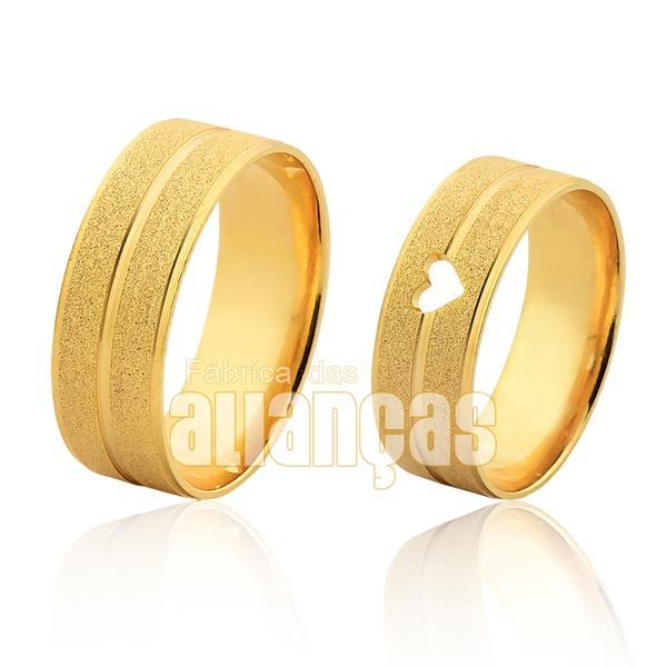 Alianças De Noivado e Casamento Em Ouro Amarelo 18k 0,750 Fa-1013 - FA-1013 - Fábrica das Alianças