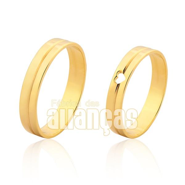 Alianças De Noivado e Casamento Em Ouro Amarelo 18k 0,750 Fa-1016