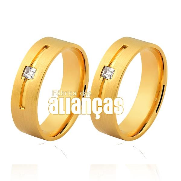 Alianças De Noivado e Casamento Em Ouro Amarelo 18k Fa-1045