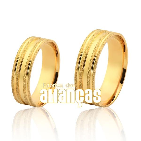 Alianças De Noivado e Casamento Em Ouro Amarelo 18k Baratas - FA-1126 - Fábrica das Alianças