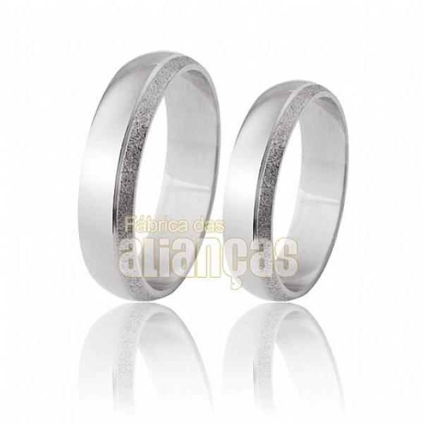 Alianças De Noivado e Casamento Em Ouro Branco 18k 0,750 Fa-200-b - FA-200-B - Fábrica das Alianças