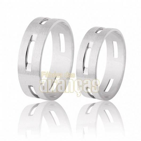 Alianças De Noivado e Casamento Em Ouro Branco 18k 0,750 Fa-204-b