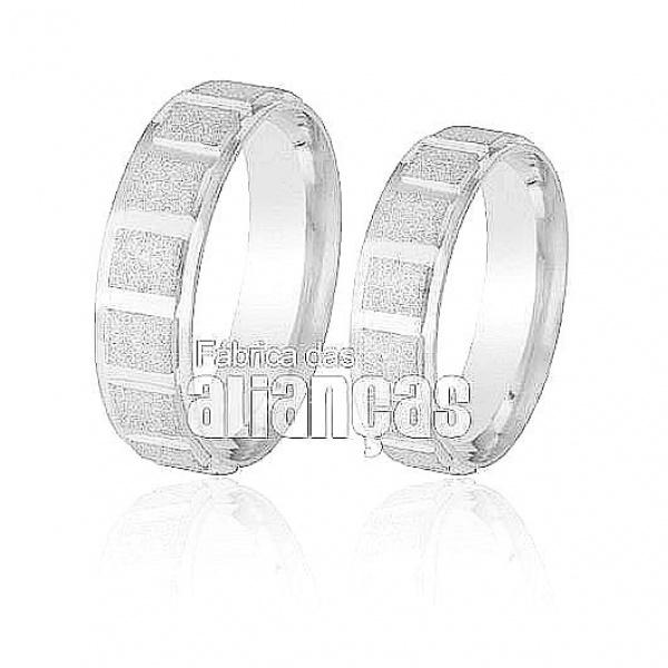Alianças De Noivado e Casamento Em Ouro Branco 18k 0,750 Fa-208-b