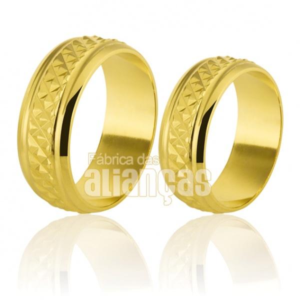 Alianças De Noivado e Casamento Em Ouro Amarelo 18k 0,750 Fa-214