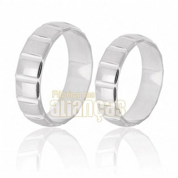 Alianças De Noivado e Casamento Em Ouro Branco 18k 0,750 Fa-215-b