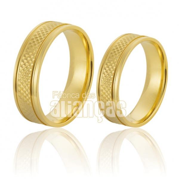 Alianças De Noivado e Casamento Em Ouro Amarelo 18 k 0,750 Fa-217
