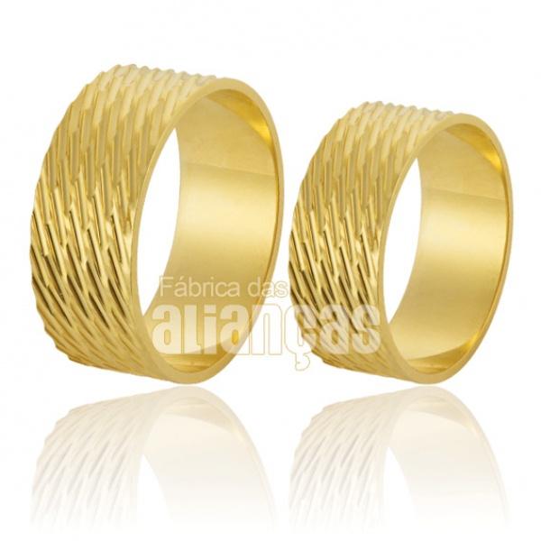 Alianças De Noivado e Casamento Em Ouro Amarelo 18k 0,750 Fa-218