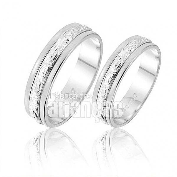 Alianças De Noivado e Casamento Em Ouro Branco 18k 0,750 Fa-222-b