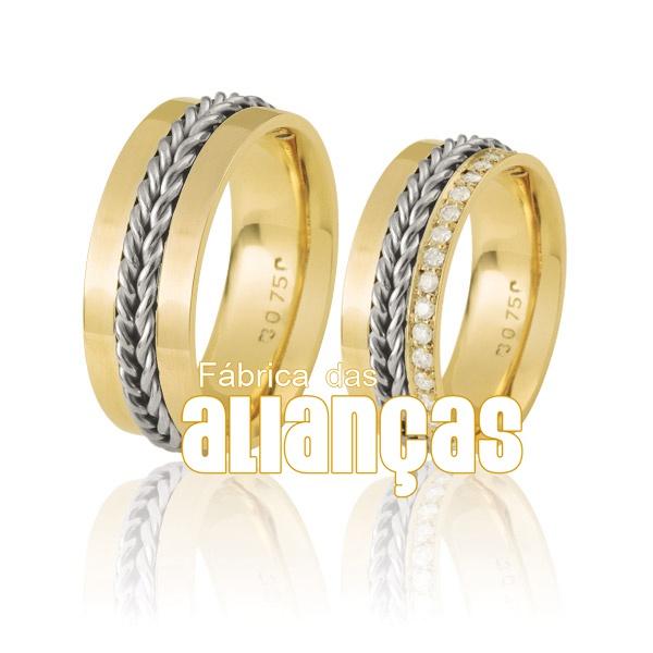 Alianças De Bodas De Ouro Amarelo 18k Duas Cores
