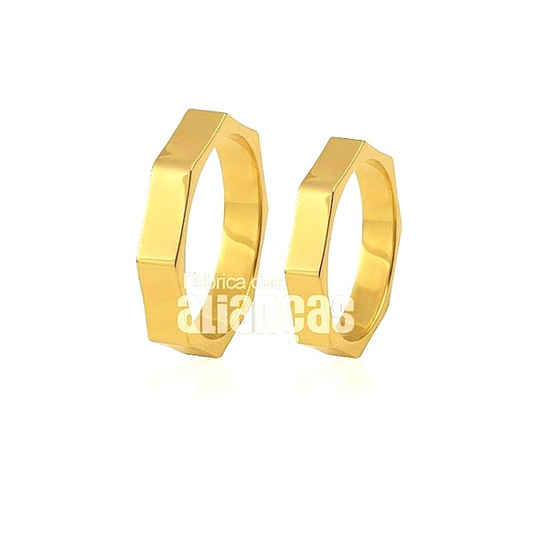 Alianças de Noivado Sextavadas em Ouro Amarelo
