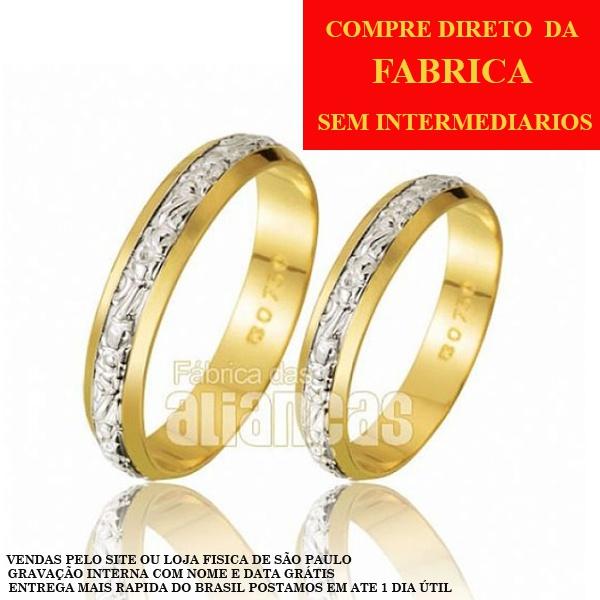 Alianças De Bodas Em Ouro Amarelo 18k 0,750