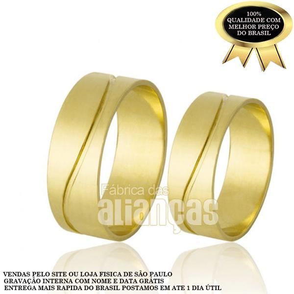 Alianças De Noivado e Casamento Em Ouro Amarelo 18k 0,750 Fa-723