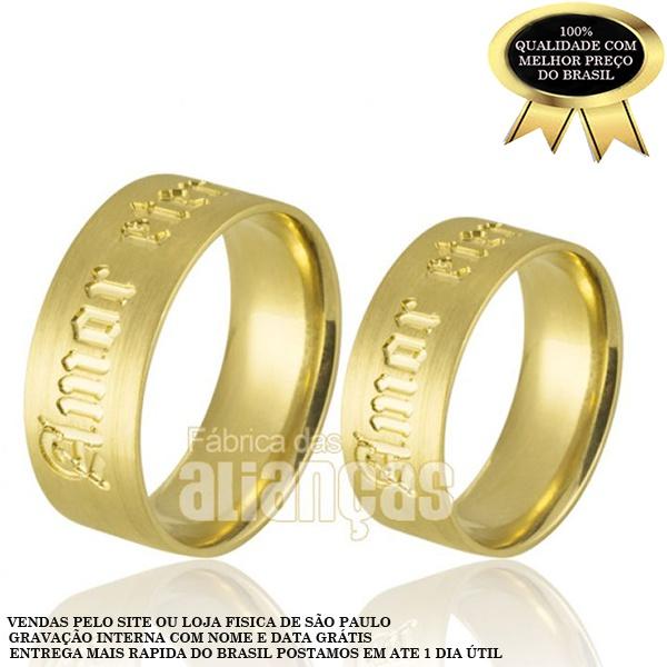 Alianças De Ouro 18k Personalizadas Com Frase Amor Eterno